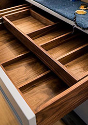 Walnut double drawer dividers