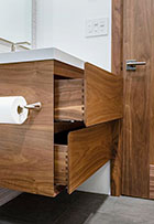 Floating vanity with dovetail drawers