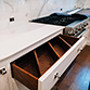 Custom dovetail drawer dividers, angled for space and storage